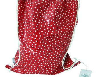 Red Polka Dot Waterproof Swim Bag/Sports Bag Washable Beach Bag Laminated Cotton