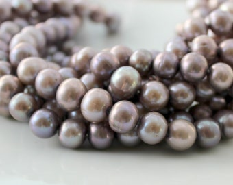 Purple Pearls, Freshwater Pearls,  Potato Pearl, Mauve Pearls,  Real Pearls, Off Round Pearls, Large Pearls Genuine  9mm Full Strand