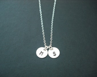 Personalized, Double Hand stamped initial disc pendant necklace - Sterling silver