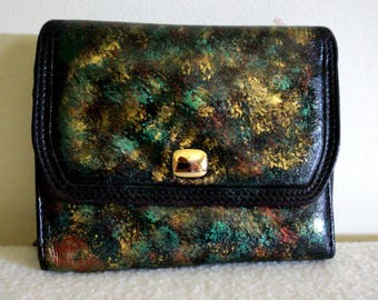 Genuine Leather Wallet Organizer, 'Emerald Chaos', Hand Painted, One of a Kind