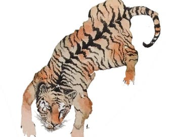 Tiger blank greeting card reproduction of my original watercolor ink illustration drawing of the fierce Bengal tiger in orange and black