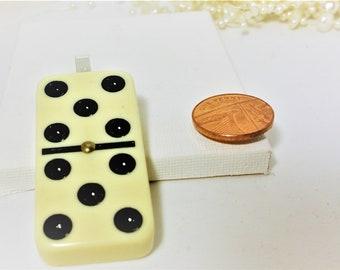 Pendant Necklace, White Domino Pendant, White Domino Necklace, Retro Necklace, Double Five, Quirky, Funky, Kitsch, Unique