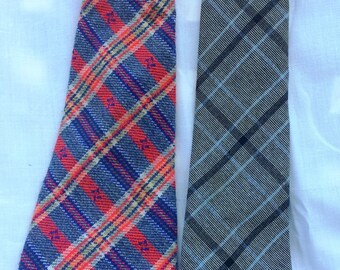 Two 1970s Vintage mens plaid neckties - Holiday Gift!