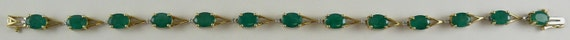 "Emerald 9.19ct Bracelet with Diamonds 0.10ct 14k Yellow Gold 7 1/4"" Long"