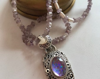 Natural Amethyst Necklace-Bali Sterling Silver Pendant Necklace