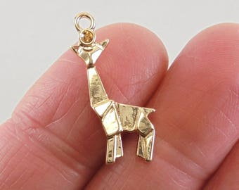 3 Origami Giraffe charms, 23x13mm, Gold-Plated