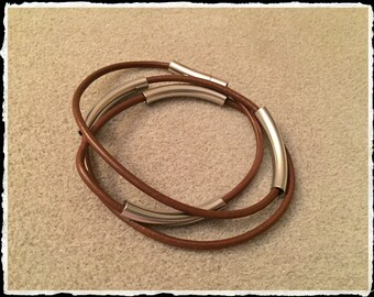 Leather N Stainless Wrap- Mocha