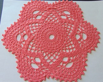 Star doily in Coral