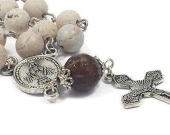 Catholic Gemstone Rosary Beads Tenner Single Decade Rosary Riverstone Beads Silver Plated Rosary