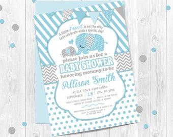 Boys, Elephant Baby Shower Invitation, Blue and Gray Stripes, Blue Elephant Baby Shower, Printable Blue Elephant Theme, Boy Elephants, Blue