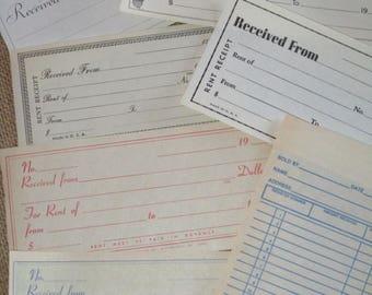 Vintage Receipt Lot-Ephemera-Scraps-Lot of 14-Unused