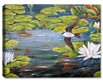 Tree Swallows And Lilies - Indoor Art or Outdoor Art