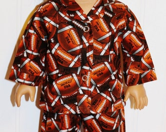 FOOTBALL Pajamas fit 18inch Dolls -  Made by mamastwinsees
