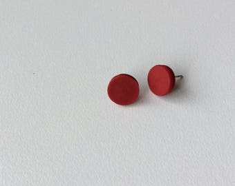 Red polymer clay studs