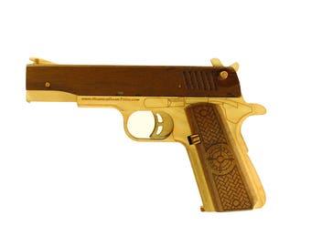 1911 Pull back hardwood accents rubber band gun kit