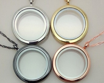 30mm Round Floating Locket W/O Rhinestones 4 Colors U Pick