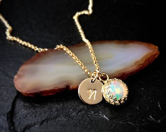 Genuine Welo Opal Necklace / 14k Gold Filled or Sterling Silver October Birthstone Necklace / Libra Birthstone Delicate Jewelry Gift for Her