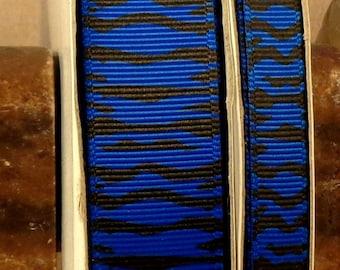 "2 Yards 3/8"" or 7/8"" Electric Blue Zebra Print Grosgrain Ribbon - US Designer"