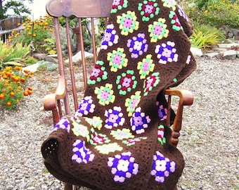 1970s Granny Square Hand Crocheted Afghan or Single Bedspread 53x79 inches Vintage