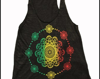 Women's Mandala Tank Top  THIS IS NOW Seed and Flower of Life Sacred Geometry