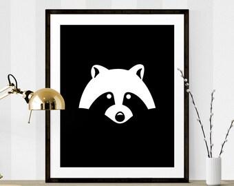 Black & White Raccoon Print, Raccoon Graphic Art, Printable Art, Nursery Printable, Raccoon Art, Black White Graphic Art, Nursery Prints
