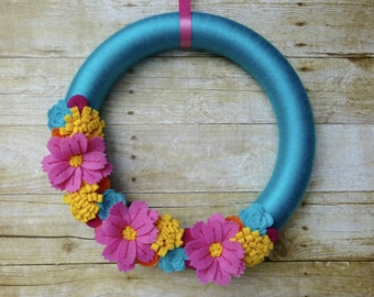 Summer Felt Flower Wreath, Felt Flower Wreath, Spring Felt Wreath, Spring Felt Flower Wreath