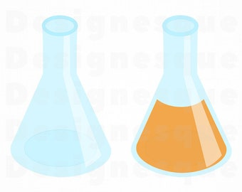 Erlenmeyer Flask SVG, Chemistry SVG, Science SVG, Erlenmeyer Flask Clipart, Cut Files For Silhouette, Files for Cricut, Dxf, Png, Eps Vector