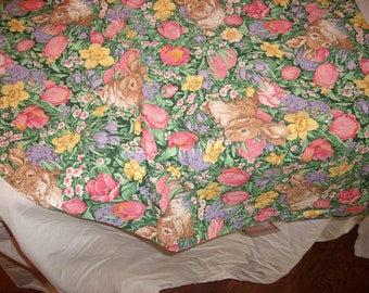 Bunnies in Field of Flowers Table Cloth