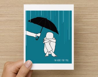 I'm Here for You Recycled Paper Folded Support Sympathy Get Well Card