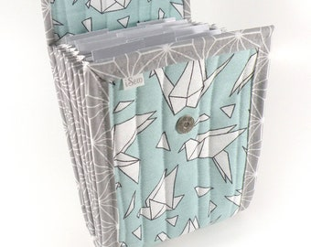 Circular Needle Case - Paper Crane - Needle Holder Needle Wallet Circular Needle Organizer Organiser Aqua Gray Origami