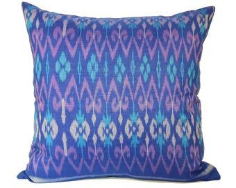 Blue Purple Ikat 16 x 16 Cushion Cover