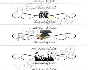 Graduation Dishcloth/Washcloth Labels - PDF File Only