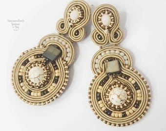 Soutache earrings, ivory and antique gold tone embroided soutache earrings - jewelry couture