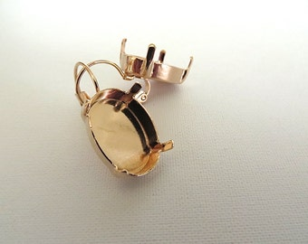 1 Pair Rose Gold Plated Lever Back Earrings for Swarovski 18mm x 13mm Oval 4120