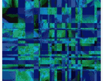 Gorgeous Blue and Green Abstract Cross Stitch Pattern, Chart
