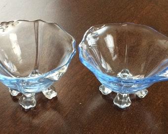 Cambridge Glass Set of 2 Caprice Moonlight Blue Open Salt Salts