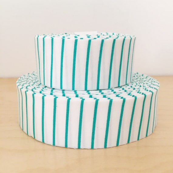 "Teal Aqua Stripe Skinny Striped Quilt binding- 1.25"" double-fold cotton"