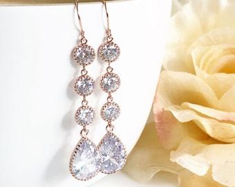 Rose Gold Wedding Earrings. Drop Earrings. Rose Gold Bridesmaids Earrings. Rose Gold Bridesmaids Jewelry. Dangle Earrings. Bridesmaids Gifts