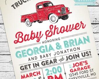 Vintage Truck Baby Shower Invitation