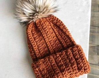 The Harlynn Beanie Pattern, PATTERN ONLY, Winter Hat, Beanie, Crochet Hat Pattern, Crochet, Beanie, DIY, Crochet Beanie, Fur Pom Hat