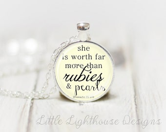 Medium She Is Worth Far More Pendant Necklace Scripture Pendant Christian Necklace Pendant Necklace Inspirational Gift