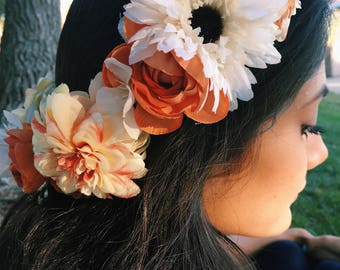 Sweet Flower Crown with Cream Daisies, Orange Roses and Orange and Cream FLowers