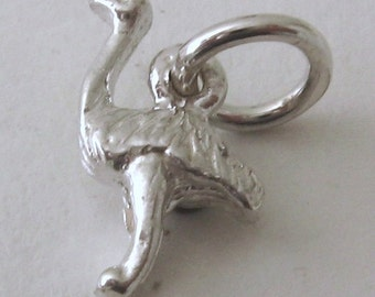 Genuine SOLID 925 STERLING SILVER 3D Emu Australian Animal charm/pendant