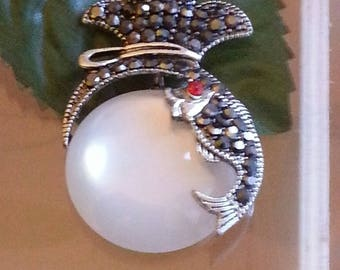 Dolphin, silver, Tibetan style alloy pendants with Crystal antique white 43x28x9mm, Hole: 1.5 mm