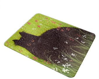Black Persian Cat Cheese Board Carving Board Cutting Board Glass Board Wine Cheese Gift Set Persian Cat Lover Persian Cat Gift Cat Art