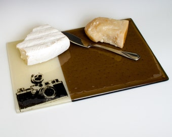 Camera Fused Glass Cheese Platter, Vintage Camera, Leica, Film, Browns, Cheese Platter