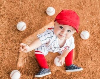 Boys Baseball Uniform, White/Black Pinstripe Uniform, Sportswear, Baseball Photo Prop, 1st Birthday, Costume, Smash cake, MYSWEETCHICKAPEA