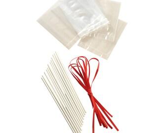 Mason Cash Lollipop Sticks Ribbon & Bag Gift Set x12 Lolly Pop Making Kit
