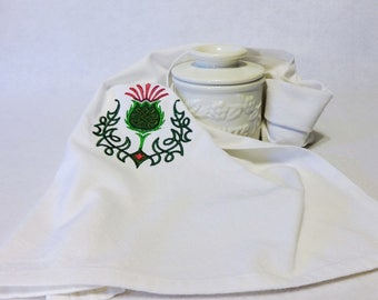 Celtic Knot Thistle Towel, Cotton Hand Towel, Embroidered Towel, St. Patrick's Day Towel, Celtic Towel, Thistle, Irish, Irish Towel