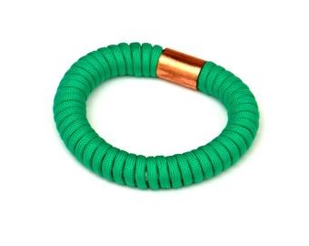 Statement Cord Bangle Emerald Green